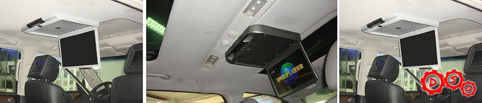 Установка потолочного монитора в автомобиль Heyndai Grand Starex H1 с двумя люками и ИНФИНИТИ QX60 с люком.