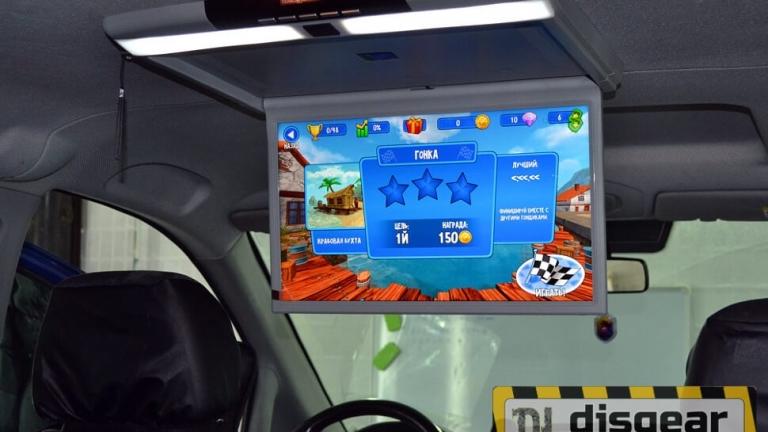 """Android Pie 17.3"""" потолочный FullHD автомобильный монитор бежевого цвета"""