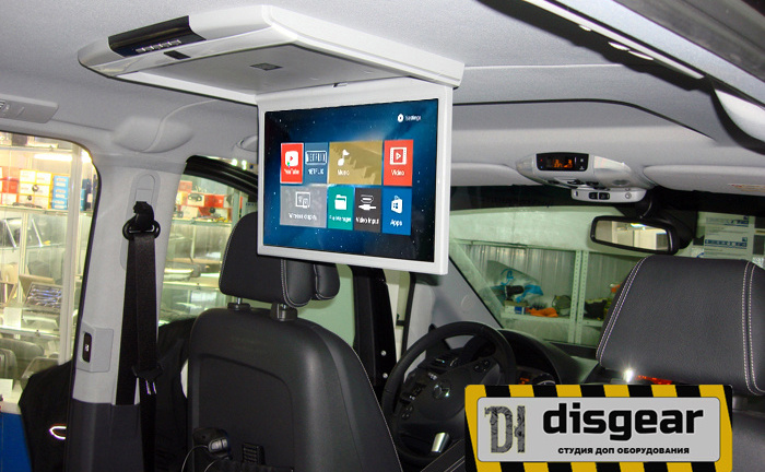 """Android 15.6"""" потолочный FullHD автомобильный монитор бежевый цвета"""
