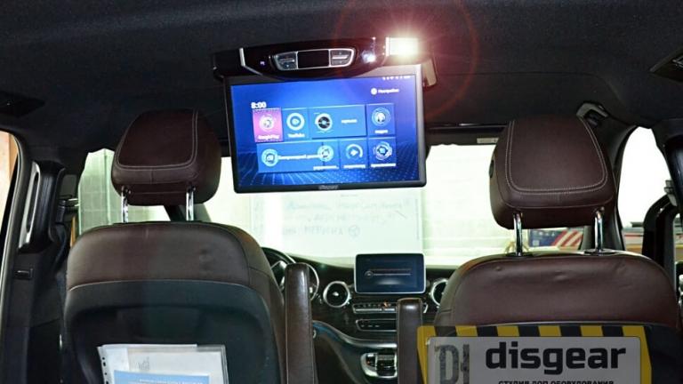 """Android Pie 15.6"""" потолочный FullHD автомобильный монитор для Mercedes V-class серого цвета"""
